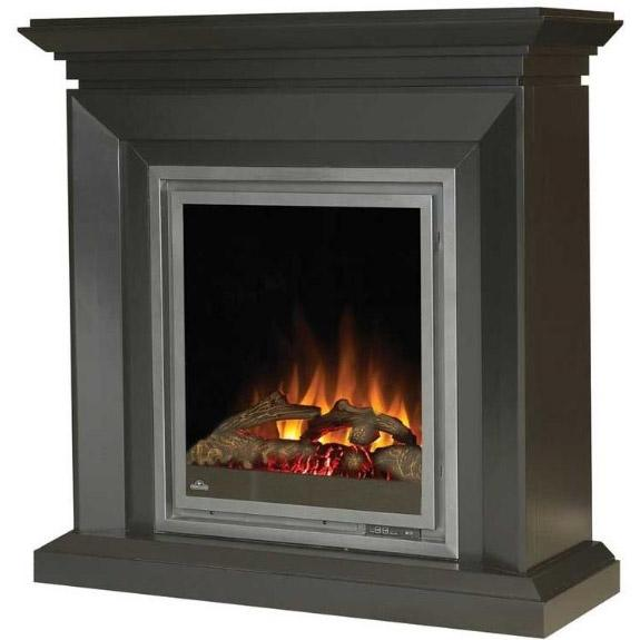 Napoleon EFMD30K Electric Fireplace With Log Set / Deluxe Beveled Edge Mantel - Black