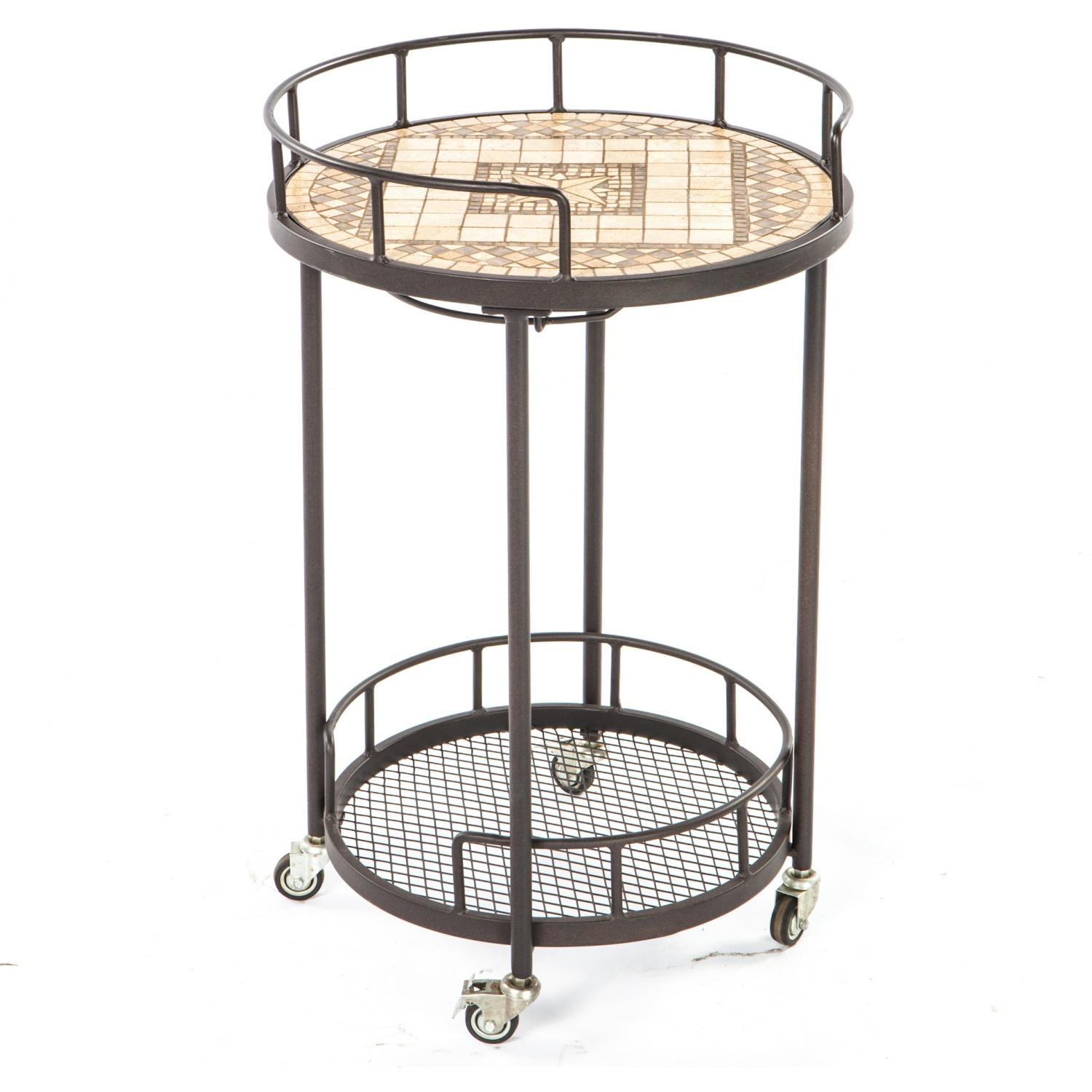 Picture of Alfresco Home Basilica Mosaic Outdoor Serving Cart