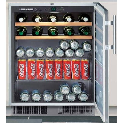 Liebherr RU-500 29 Bottle / 88 Can Built-In Wine / Beverage Cooler - Glass Door / Stainless Steel Trim