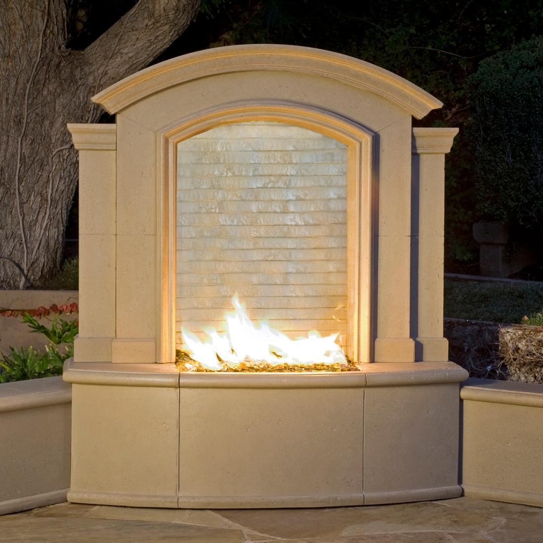 Picture of American Fyre Designs 61-Inch Outdoor Natural Gas Large Firefall - Cafe Blanco