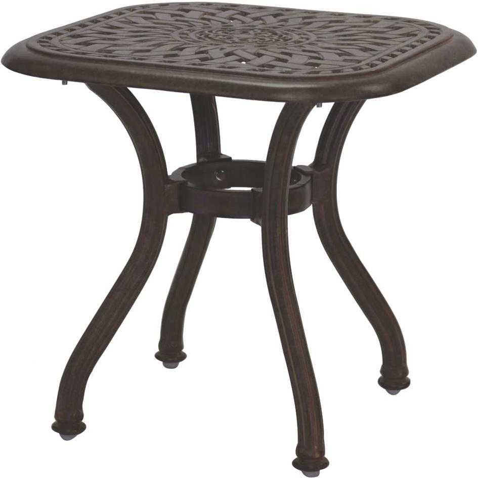 Darlee Series 60 Cast Aluminum Outdoor Patio End Table - 21 Inch Square - Mocha
