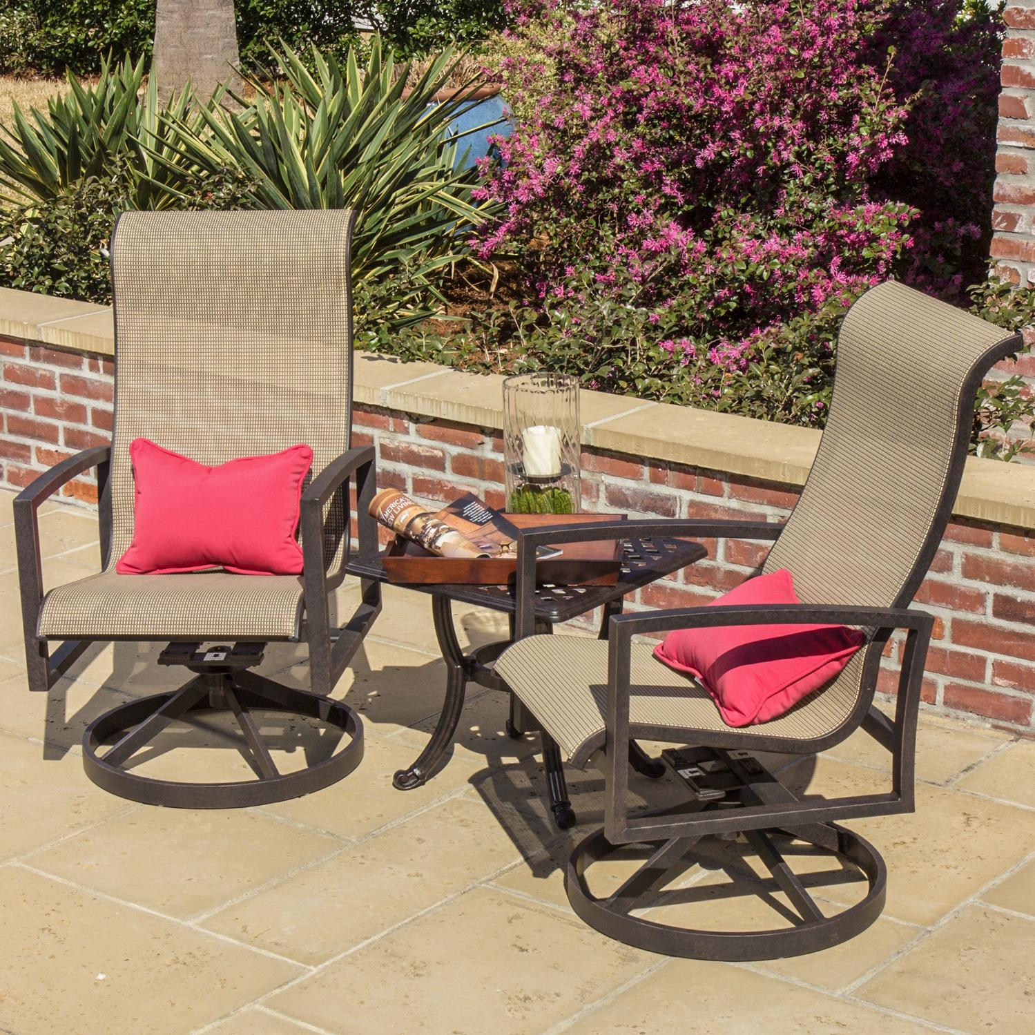 Picture of Acadia 2-Person Sling Patio Bistro Set With Cast Aluminum Table By Lakeview Outdoor Designs