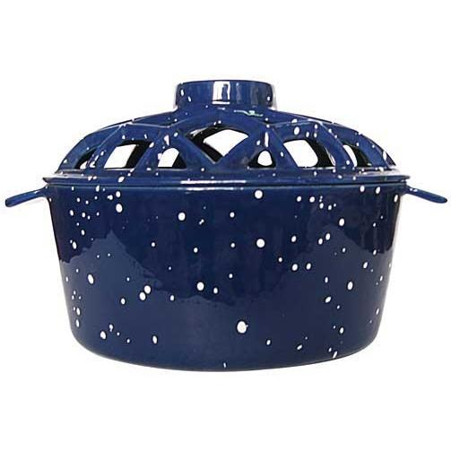 UniFlame Blue Porcelain Coated Lattice Top Steamer With White Speckles