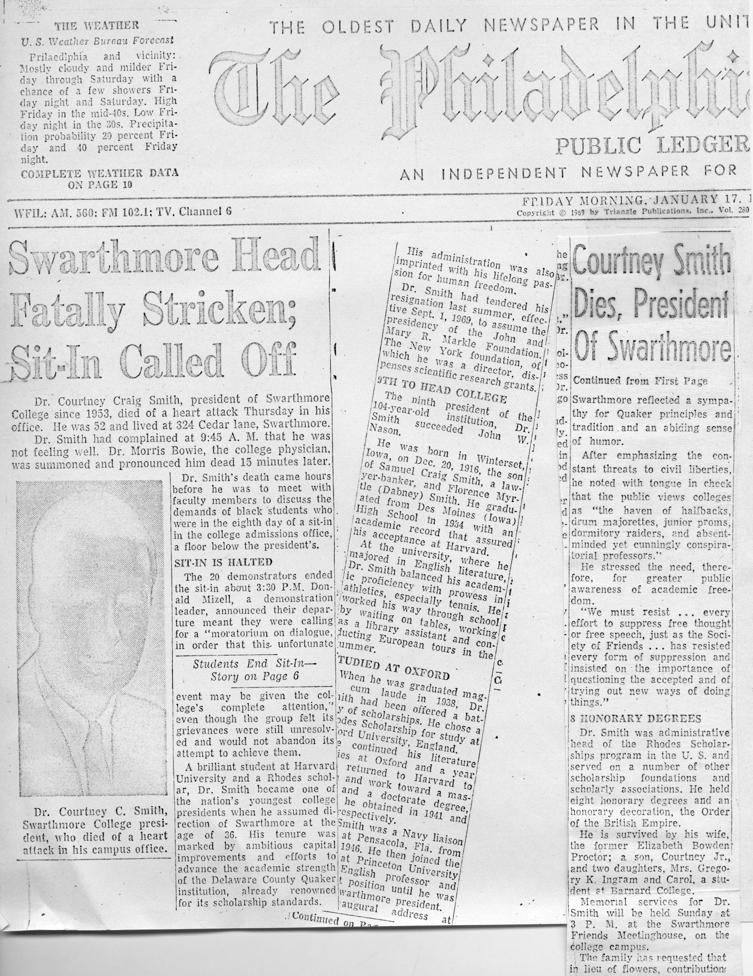 Swarthmore Head Fatally Stricken