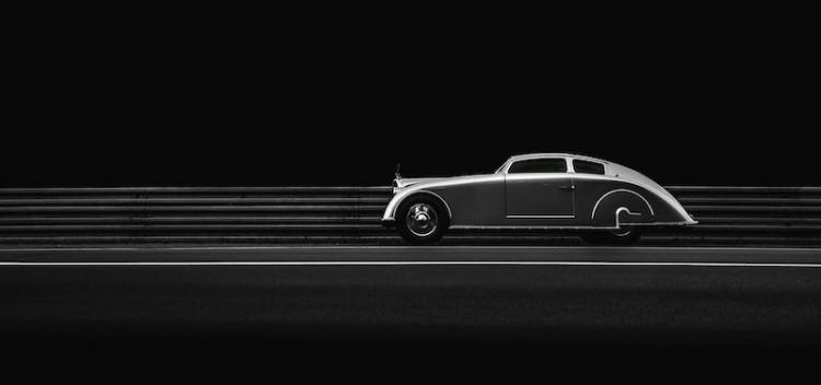 1936 Voisin C28 Aerosport profile at night