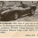 Ferrari 196 S – Classic Cars for Sale