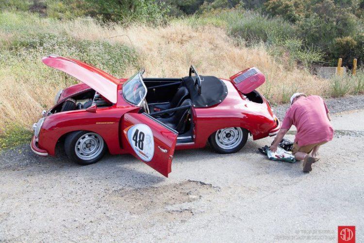 Peter Dunkel working on his Porsche Speedster