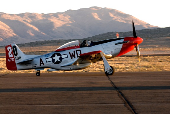 Dan Martin taxis Ridge Runner P-51D out for an early morning test fight