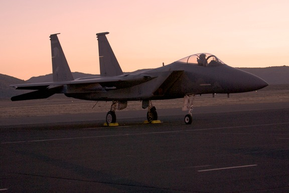 Pre-sunrise flight line walk reveals USAF F-15