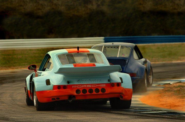 Pair of Porsche 911s duel