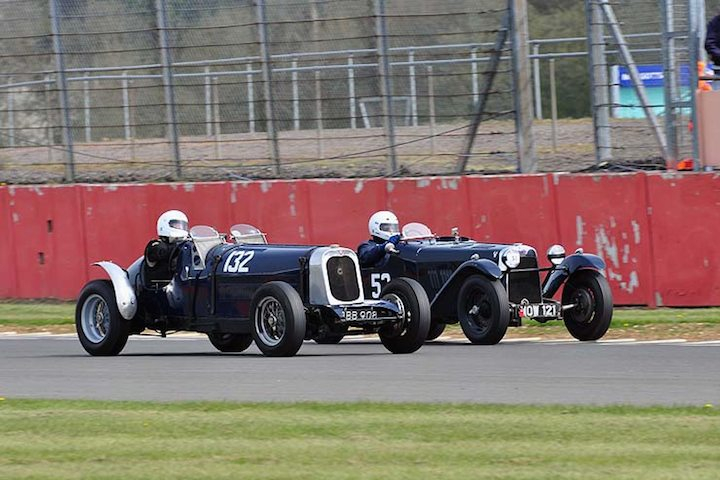 Jeffrey Edwards Alvis Sports Special fights it out with Silverstone Trophy winner 53 Dudley Sterry in his HRS 2 STR Sports
