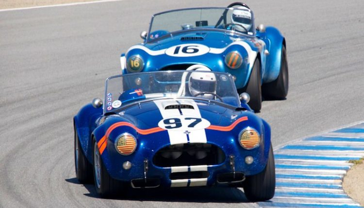 Steve Park's 1962 Cobra leads Lynn Park's 1964 Cobra through turn five.