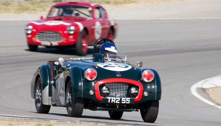 David Nelson's Triumph TR-2 leads the AC Aceca Bristol in turn five.
