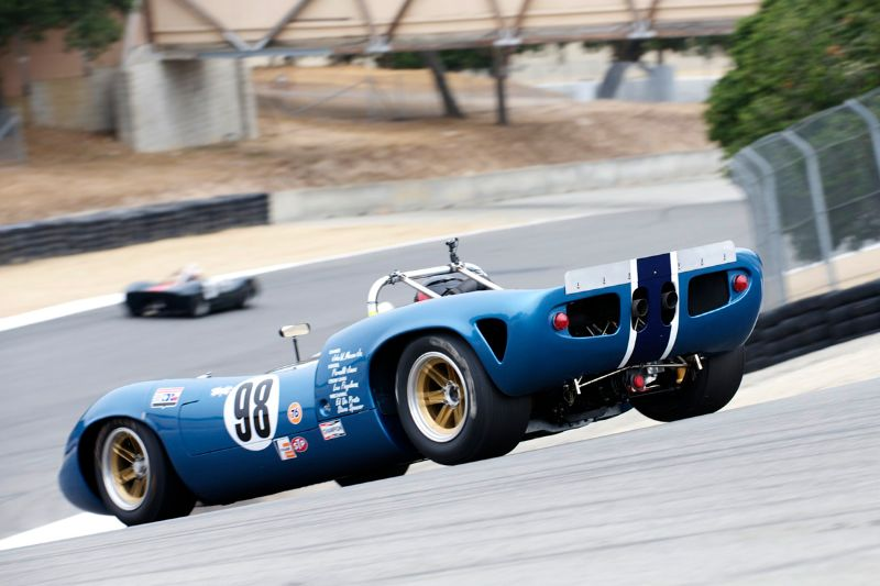 David Jacobs 1966 Lola T70 down the Corkscrew.