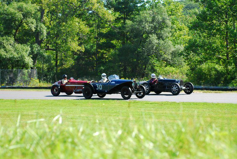 Group One, in the Esses.#30- 1924 Bugatti Type 30, #51- 1932 Bugatti Type 51 and 1931 Alfa Romeo Tipo B.