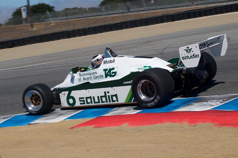 In Turn 11 is Michael Fitzgerald in his Williams FW08C.