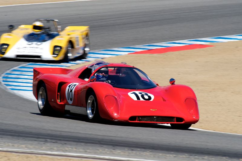 Ray Gregory's 1970 Chevron B16 leads the Lola T212 of Scott Emer