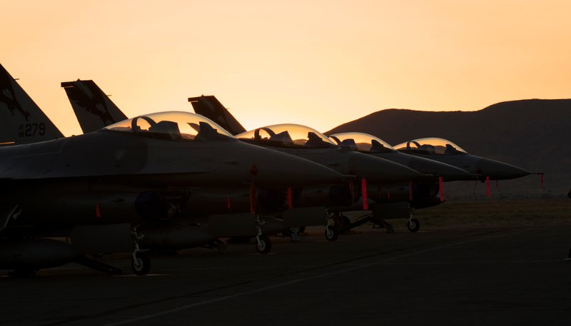 Pre dawn flight line. F-16s.
