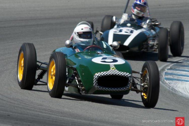 Vern Neff's Lotus 18 in turn five Friday.