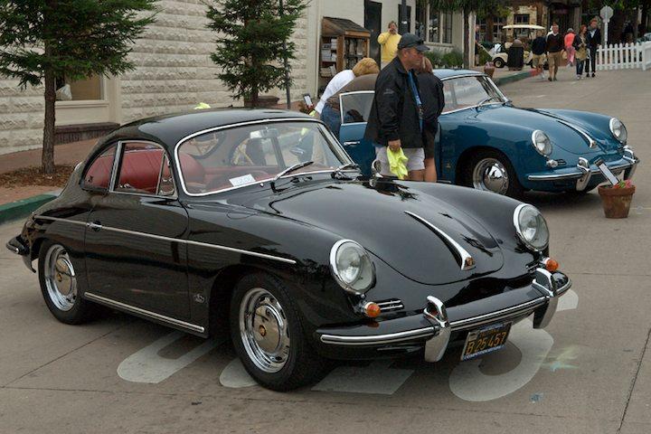 1963 Porsche 356B in black and a 1962 Porsche 356B in blue