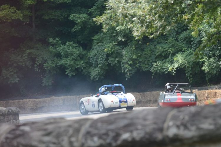 Coughing their way at Turn 19- Michael Stien 1956 Austin Healey 100-4.