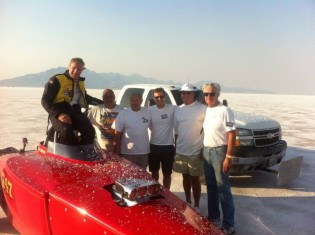 Bruce Meyer with his crew at Bonneville Speed Week, 2012