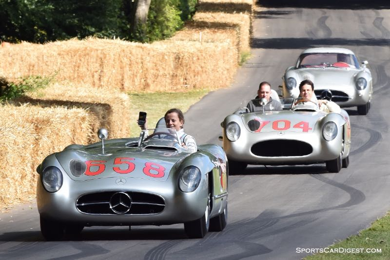 Susie Wolff in the #658 Mercedes-Benz 300 SLR that Juan Manuel Fangio drove in the 1955 Mille Miglia