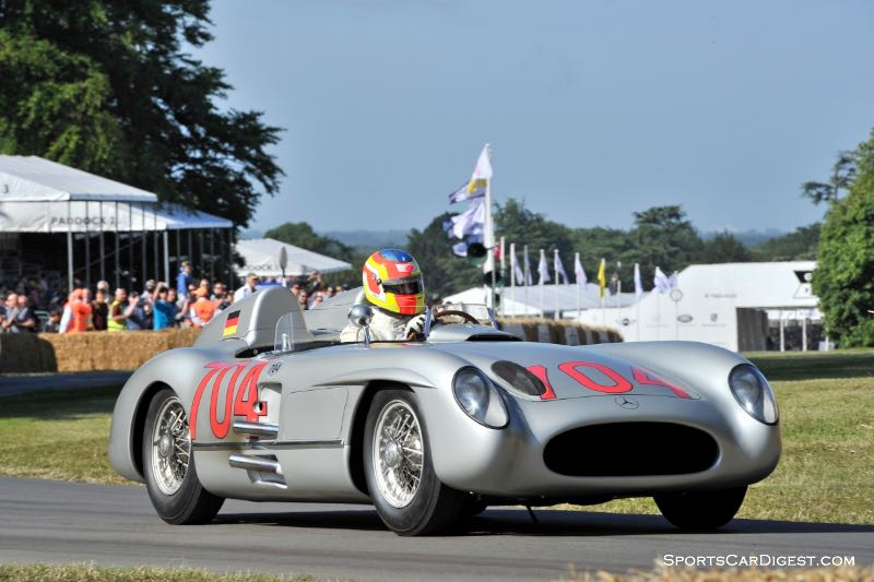 The #704 Mercedes-Benz 300 SLR that Hans Herrmann raced at the Mille Miglia in 1955