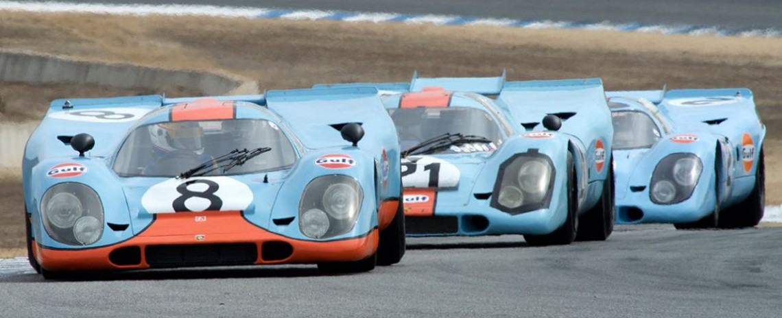 Trio of Gulf Porsche 917 monsters at Rennsport Reunion V (photo: Dennis Gray)