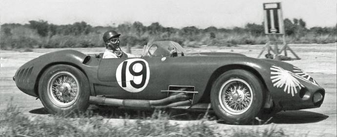 Juan Manuel Fangio driving Maserati 450S at Sebring 12-Hours, 1957