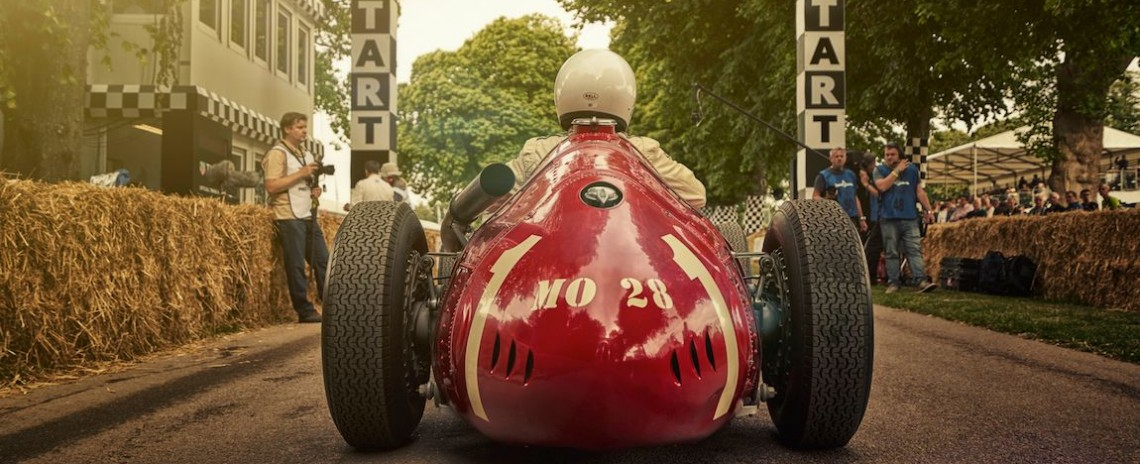 Lukas Hüni awaiting take off in the Maserati 250F at the Goodwood Festival of Speed 2015