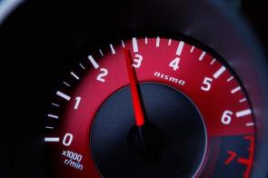 interior red tachometer gauge