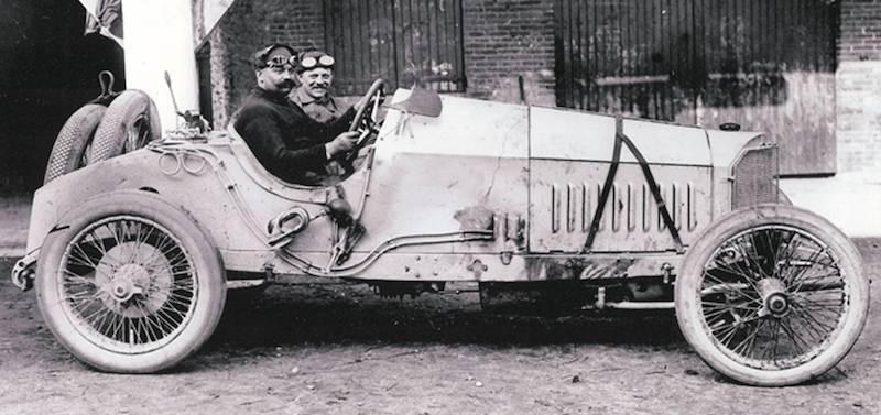 Christen Lautenschlager and mechanic Hans Reiger in the Mercedes Grand Prix