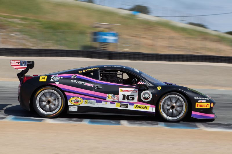 Al Dellatre on the turn 3 apex in the Scuderia Rosa #16 Ferrari 458 EVO