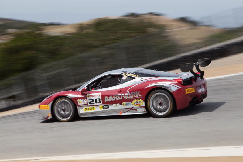 Going Down! Jon Becker enters the Corkscrew in his #28 Ferrari 458 EVO