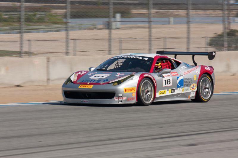 James Weiland races towards turn 5 in his #18 Ferrari 458 EVO