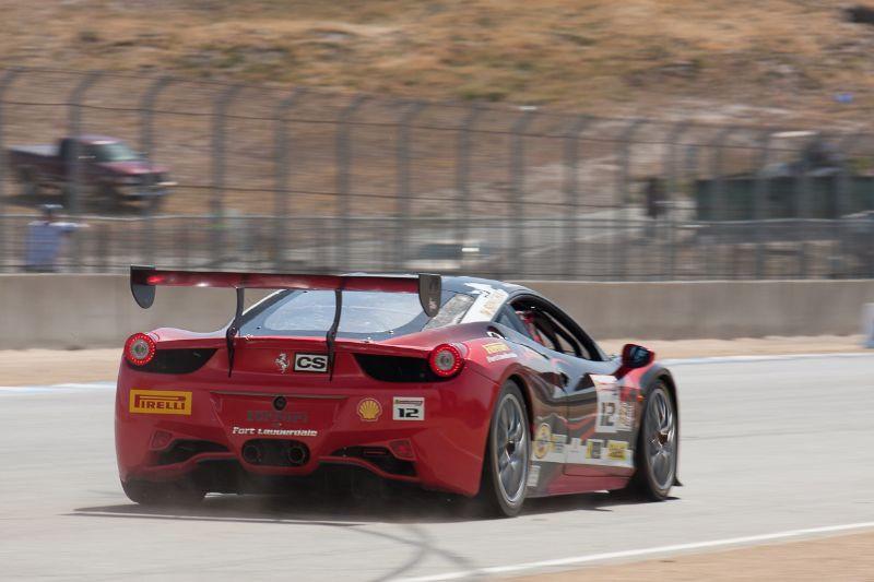 Dan O'Neal heads for turn 4 in his #12 Ferrari 458 EVO