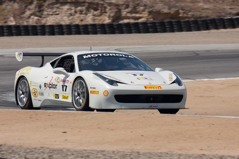Patrick Byrne comes out of turn 2 in the #17 Ferrari 458 EVO