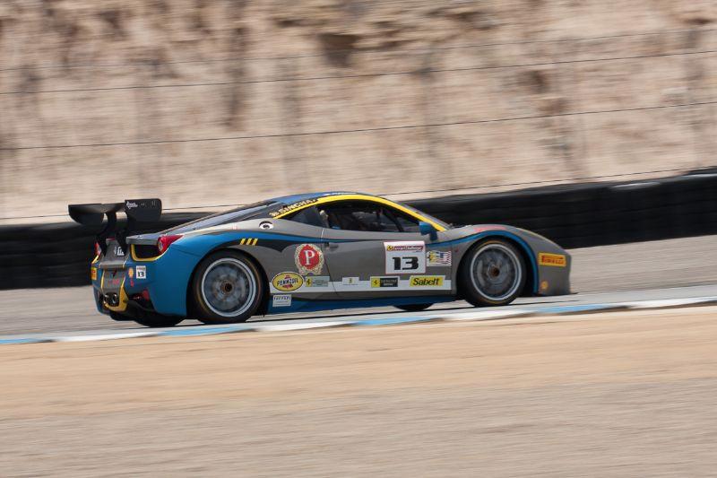 Marc Muzzo races up Rahal Straight in his #13 Ferrari 458 EVO