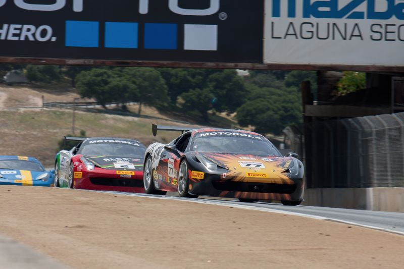 Harry Cheung leads the field for the start of the 1st race in his #77 Ferrari 458 EVO.