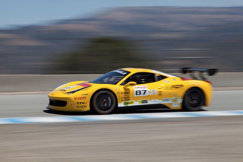 Rich Baek races up Rahal Straight in the #87 Ferrari 458 EVO