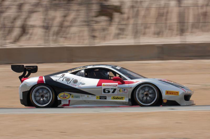 John Horejsi on the apex of turn 6 in his #67 Ferrari 458 EVO