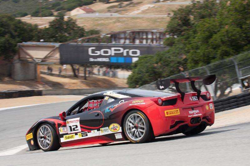Dan O'Neal races down the Corkscrew in the #12 Ferrari 458 EVO
