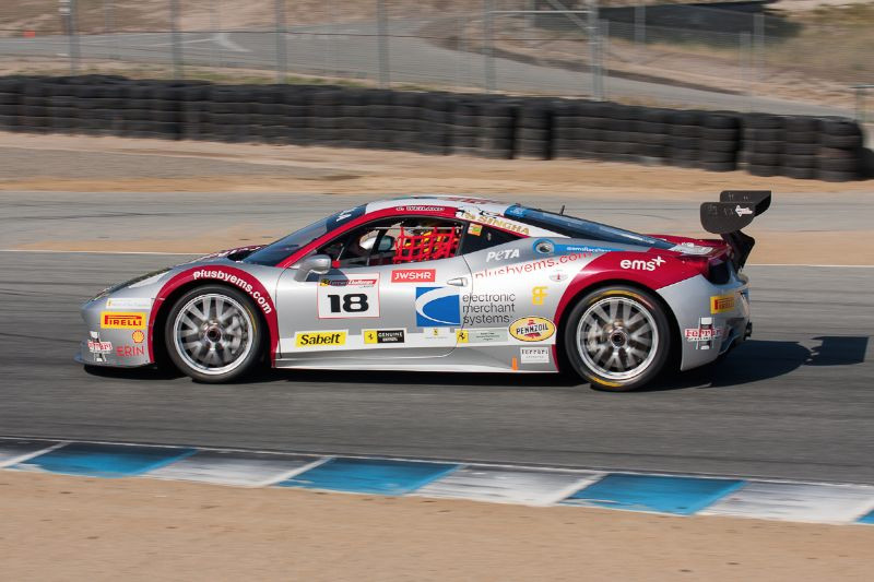 James Weiland goes for the apex in turn 5 in the #18 Ferrari 458 EVO