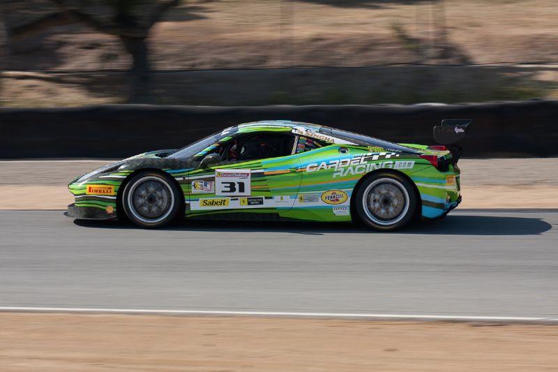 Damen Ockey exits turn 5 in the Cardel Racing #57 Ferrari 458 EVO