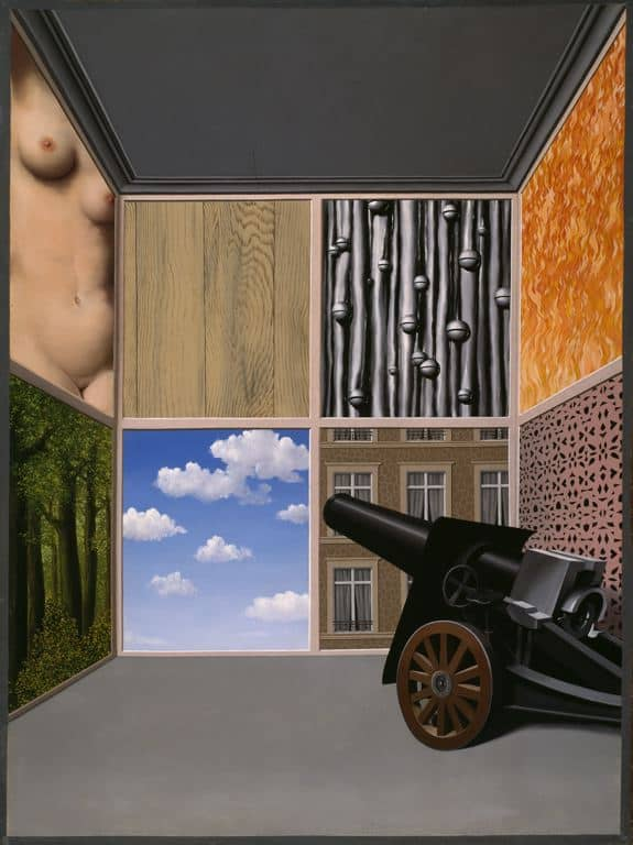 "The director began our discussions by giving me this image, It is a painting by Renee Magritte, titled On the Threshold of Liberty. She wasn't certain why it spoke to her about the show, but she was very interested in seeing the design devlop out of it. She also wanted the show to be very slick, polished, and clean, ""like an art museum."""