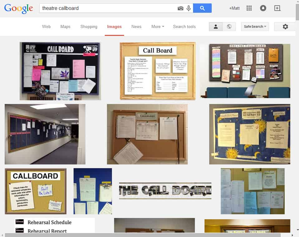 "Google Image Search for ""Theatre Callboard."""