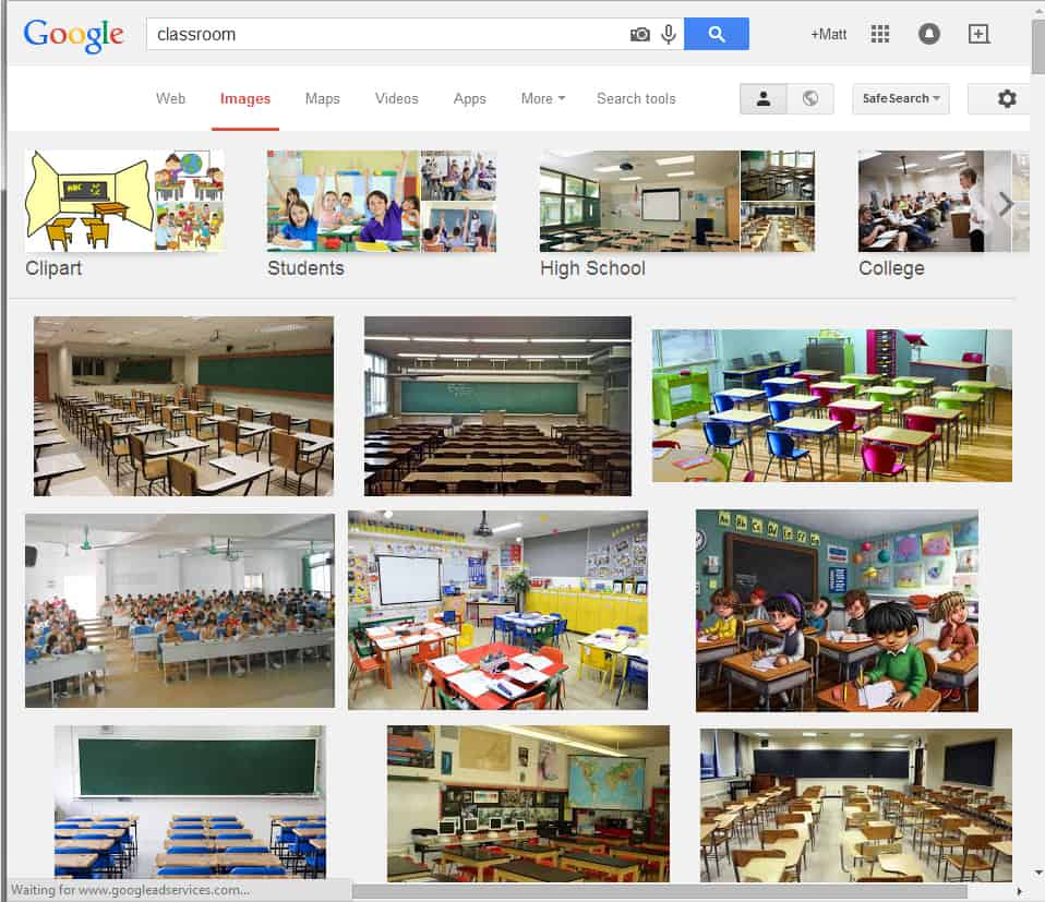 "A Google-Image-Search for ""Classroom."" I do NOT have the rights to these images. Showing them in this way, though, falls under ""fair use"" laws, since I am showing them purely as the result of a search here."