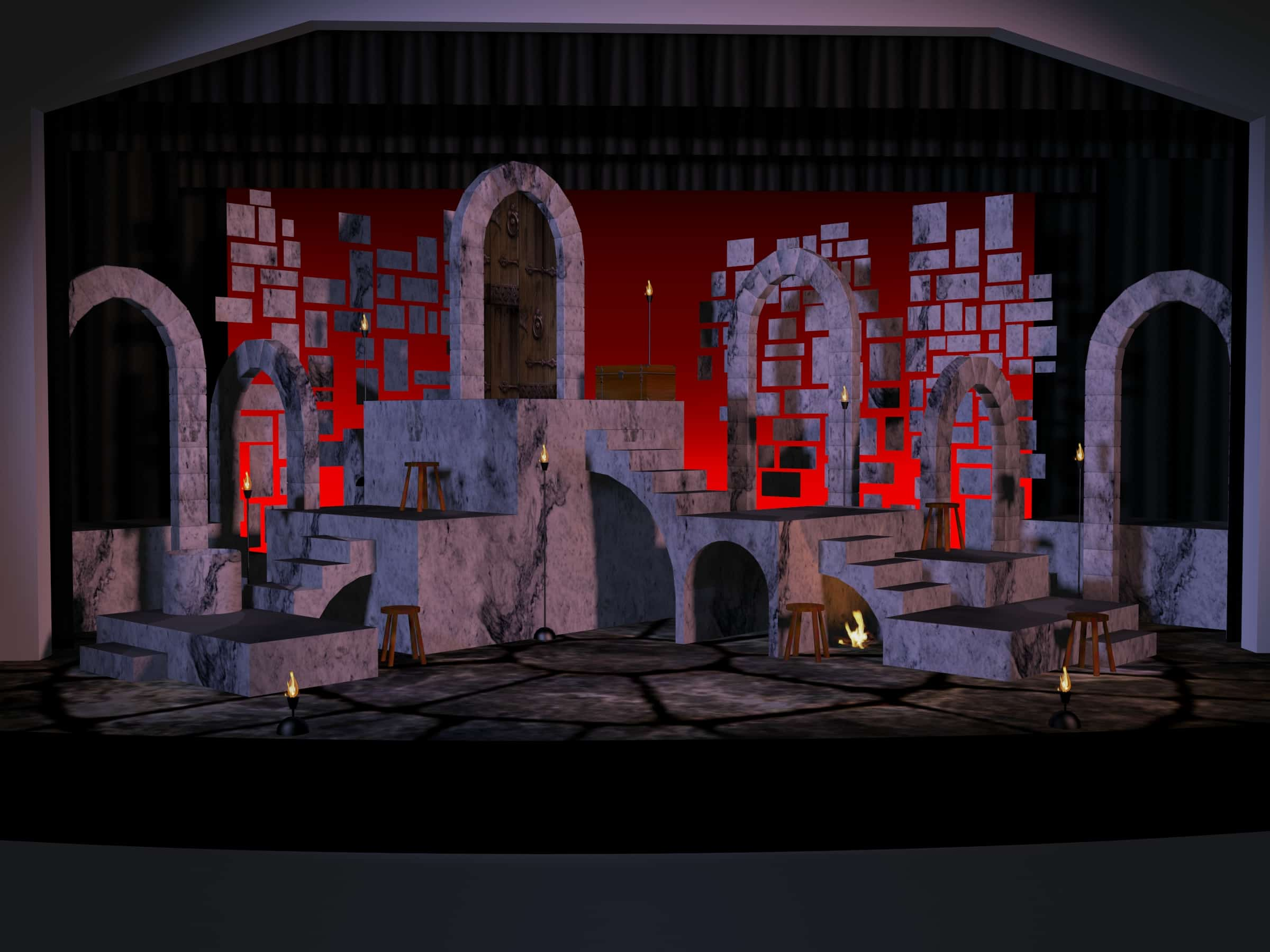 Digital set rendering for Man of La Mancha. Stone arches, flicker-flame torches, a fire burns under a staircase. Red cyclorama behind reveals the floating stone bricks and the lack of walls on the set.