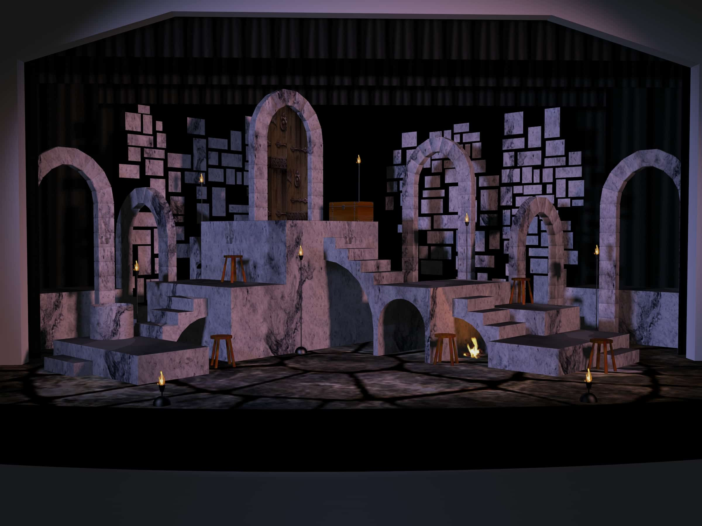 Digital set rendering for Man of La Mancha. Stone arches, flicker-flame torches, a fire burns under a staircase.
